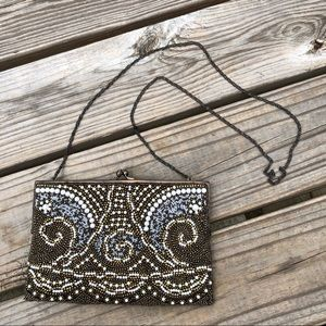 Moyna Couture ornate pearl beaded purse bag clutch
